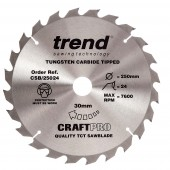 Trend Craft saw blade 250mm x 24 teeth x 30mm