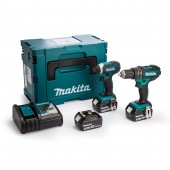 Makita DLX2131JX1 18V 3x3.0Ah Li-ion LXT Combi and Impact Twin Kit