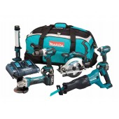 Makita DLX6044PT 18V li-ion 6 Piece Cordless Kit (3 x 5.0Ah Batteries) with Twin Charger