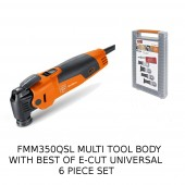 Fein FMM350 QSL Multimaster Multi Tool c/w Fein Starlock Best of E-Cut Universal 6pc Saw Set 35222952180