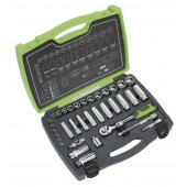 "Sealey AK7960 Socket Set 34pc 3/8""Sq Drive 6pt WallDrive® Metric"